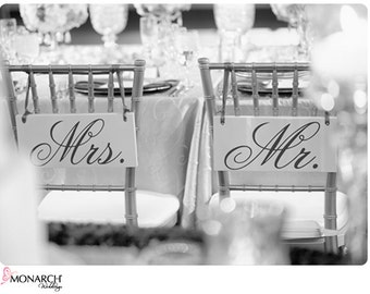 Wedding Chair Signs, Mr. and Mrs. and/or Thank and You.  6 X 12 inches.  Wedding Signs, Photo Props, Reception Signs.