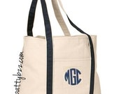 Monogram Canvas Beach Bag - Boat Canvas Tote - Embroidered Tote - Choice of Color Straps - Large Size