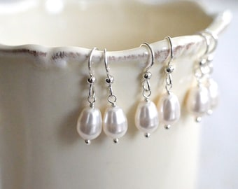 Bridesmaid Gift - 3 Cream or White Teardrop Pearl Earrings in Sterling Silver - choose pearl color