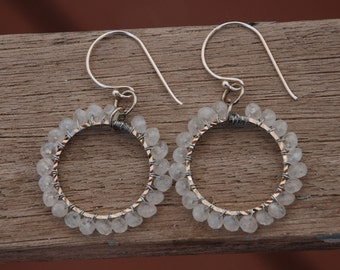 Moonstone wire wrapped Earrings Hoops Sterling Silver