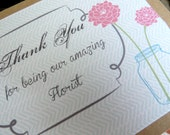 Florist Thank You Card - Wedding card kraft and mint
