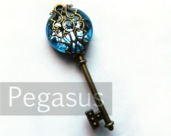Topaz Blue Filigree Acrylic Gem Steampunk Skeleton Key (1 Piece)(12 Option Color) Jewelry pendant for scrapbook,costume,wedding,favors
