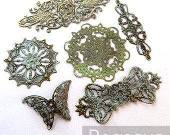 Bronze patina filigree mixed design (Random Designs)(12 Pieces) metal stamping with faux patina Art nouveau jewelry backing and for layering