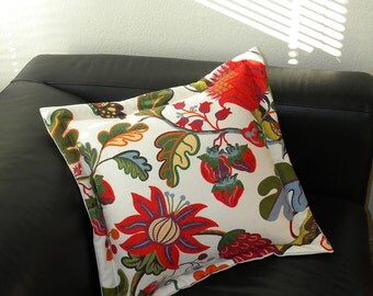 """Jacobean style 20"""" pillow linen cotton blend for interior use similar to Josef Frank botanical floral traditional multicolor Crabby Chris"""