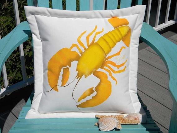 "Outdoor pillow LOBSTER YELLOW 20"" (50cm) coastal nautical rare golden beach Chesapeake cottage crustacean Atlantic Crabby Chris Original"