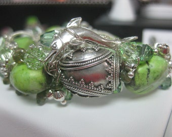 Sterling Silver Wire Wrapped and Coiled Green Turquoise Bracelet