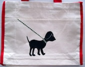 hand painted tote bag - whimsical black lab going for a walk