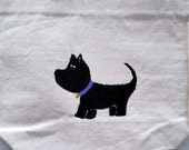 hand painted whimsical Scottie dog design - small natural colored tote