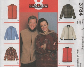 McCalls 3784 Stretch Knit Jackets and Vests Uncut Sewing Pattern Misses and Mens