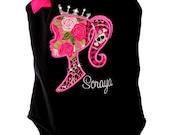 Custom Personalized Royal Princess Barbie Birthday Rhinestone Leotard Design Your Own