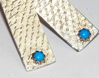 Sterling Silver Bar Earrings with Genuine Turquoise - Long Earrings - textured metal earrings