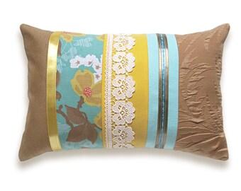 Aqua Yellow Caramel Lumbar Pillow Case 12 x 18 in IRMA DESIGN Limited Edition