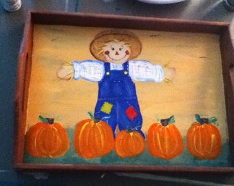 Handpainted Fall Pumpkin and Scarecrow tray