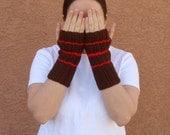Stripe Red and Brown Fingerless Gloves for Men or Women - Crochet Fingerless Gloves - Wrist Warmers - Arm Warmers - Fingerless Mittens