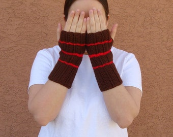 Stripe Red and Brown Fingerless Gloves for Men or Women - Crochet Fingerless Gloves - Wrist, Arm Warmers - Fingerless Mittens MADE TO ORDER