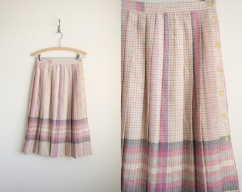 Pleated Midi Skirt in Pastel Pink Lavender Plaid Wool - High Waist Skirt - Schoolgirl Skirt