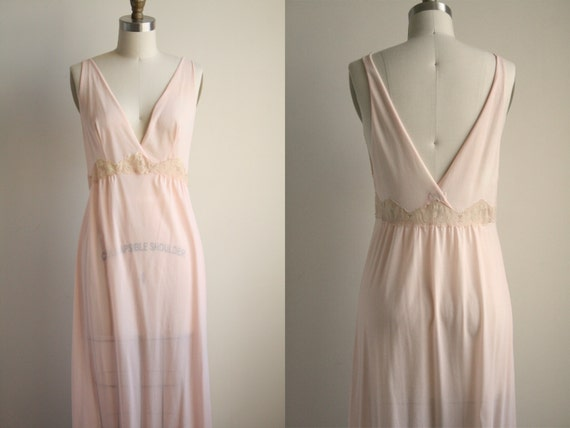 Emilio Pucci Lingerie - Pastel Pink Nightgown with Ecru Lace - Sleeveless Maxi Dress