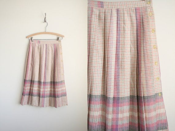 pleated midi skirt in pastel pink lavender plaid wool high