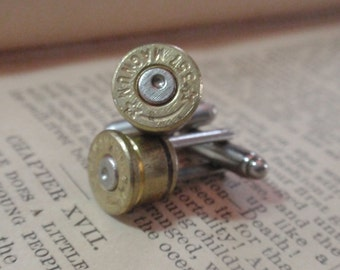 Bullet Shell Cufflinks 357 Magnum STARLINE two tone (gold and silver) Up Cycled  Repurposed Cuff Links