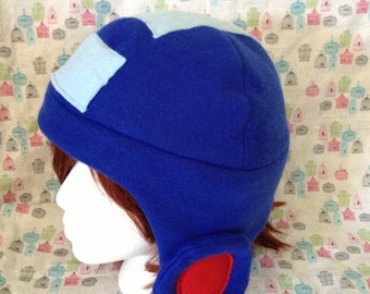 Mega Man Inspired Fleece Hat Handmade
