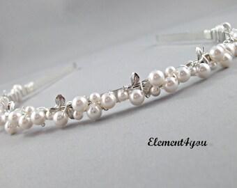 Pearl headband, Bridal Tiara, Silver leaf ,Swarovski pearls, Beaded metal Hairband, Wedding Hair Accessory, Fall wedding hair,