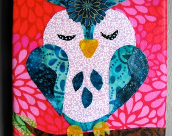 Choose one - Mini owl fabric collage wall art - Ready to Hang