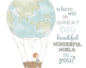 Wonderful World 8 x 10 original giclee wall art print. Boy in planet earth themed hot air balloon. Where will the world take you...