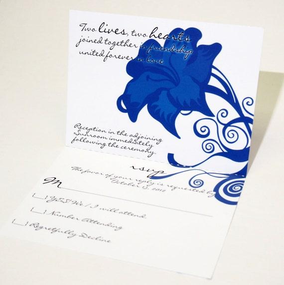 Royal Blue All In One Wedding Invitation Tear Off Rsvp Card