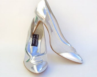 Designer High Heels, Silver, Stilettos, Leather & Mesh, Vintage