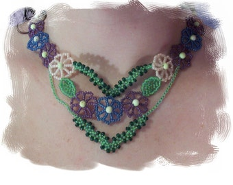 Garden Party Necklace Pattern, Beading Tutorial in PDF