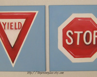 A set of two traffic signs,stop sign,yield sign, red,white,blue,wall art,boys rooms art,boys room decor,boys wall hangings,traffic signs