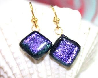 Purple Diamonds Dichroic Glass Earrings, Dangle Art Glass Earrings, Dichroic Earrings with vermeil