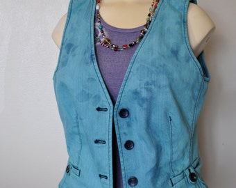 """Teal Small Denim VEST - Teal Blue Hand Dyed Upcycled New York & Co. Denim Vest - Adult Womens Size 4 Small Medium  (38"""" chest)"""