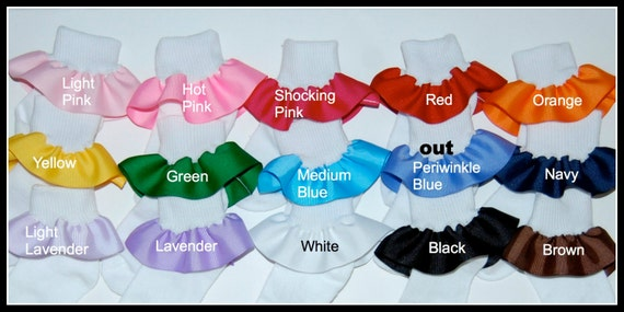 Buy 5, Get 1 FREE- Girls Ruffle Socks - Over 30 Solid Colors - Great for Gifts, School uniform, Party Favors, Twins, Holiday oufits - SALE