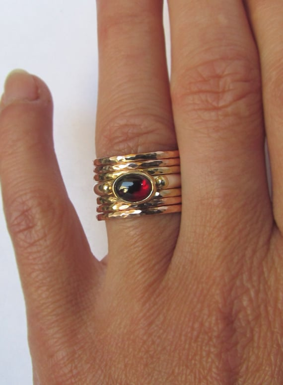A Set of Six Gold Slim Stacking Rings