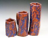 Bud Vase/Desk Organizer set Abstract Red and Blue