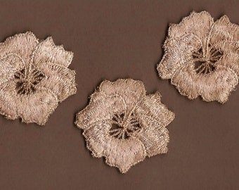 Hand Dyed Venise Lace  Vintage Blush Patina Pansy Appliques    Set of Three