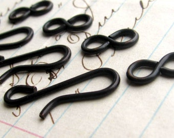 Large hook and eye set, 21mm hook, 11mm figure eight eye, dark antiqued brass (4 sets) squared edges aged black patina, hand flattened hook