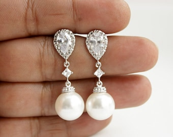 Pearl Wedding Earrings Crystal Pearl Bridal Earrings White Round Swarovski Pearl Earrings, Amelia