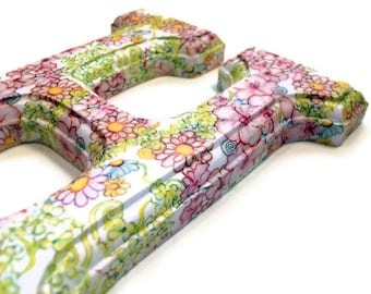 Decorated Wood Letters Decoupage Floral for any Initial, Name, or Word Custom for Your Decor