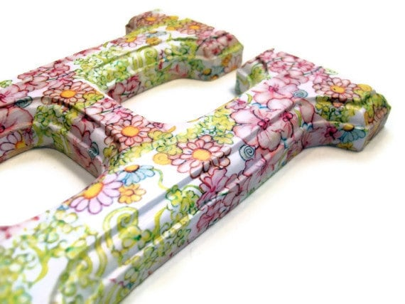 decorated wood letters decoupage floral for any initial name or word custom for your