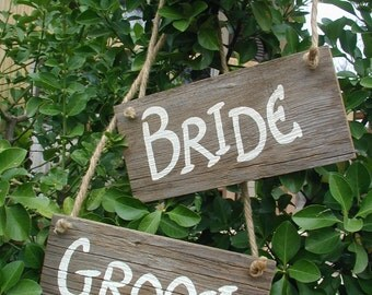 Bride and Groom Western Rustic Wedding Sign Bridal Barn Wood Chair Hangers