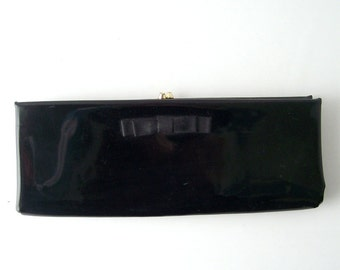 vintage black patent leather clutch purse with bow HL accessories accessory mid century modern retro womens ladies small