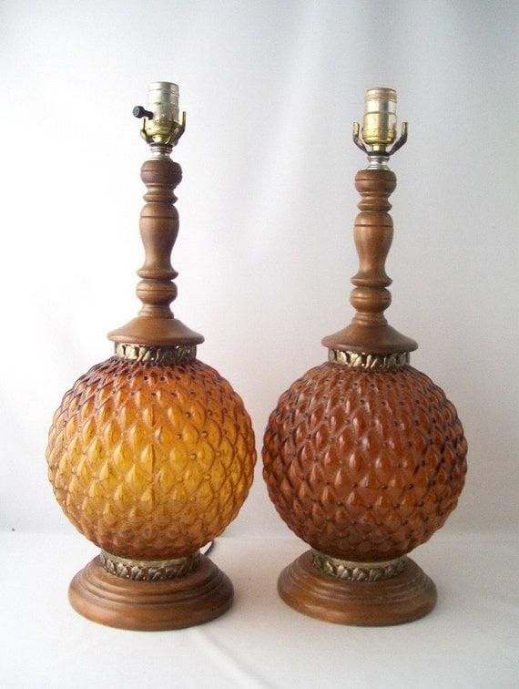 Vintage Pair Amber Table Lamps Glass Globe Wood Orange Brown