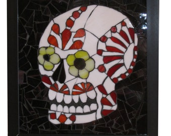 Red & White Sugar Skull Day of the Dead Art Glass Mosaic