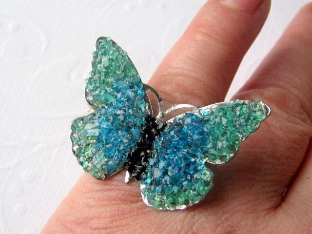 Blue Butterfly Jewelry: Butterfly Ring Blue Butterfly Butterfly Jewelry Stained
