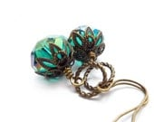Teal Blue Earrings - Dangle Earrings - Faceted Crystal - Victorian Style Drop Earrings - Aqua Blue