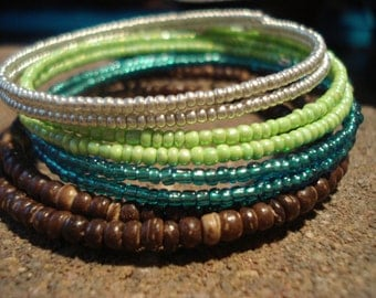 Memory Wire Bracelet Set in NATURE colors - wood, 11/0 seed beads