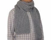 Sale 40%: Gray wool scarf men, Grey Scarf Men, Hand knitted mens scarf, Mens Scarf in Grey, extra long 78 inches