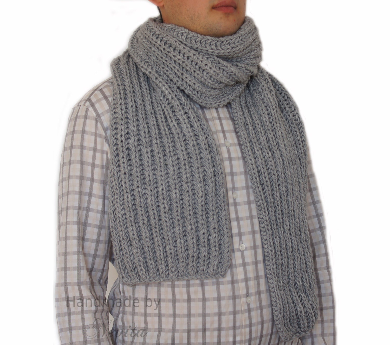 Knitting Scarf For Man : Gray wool scarf men grey hand knitted mens